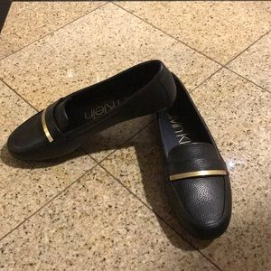 Calvin Klein black leather loafers